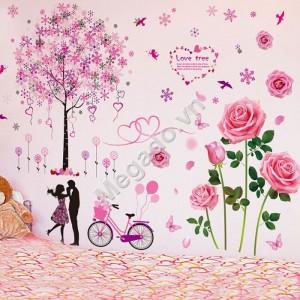 Decal hoa hồng và cây tình yêu N359