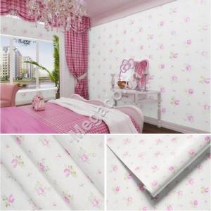 10m Giấy dán tường phòng ngủ hoa hồng nhạt C0028B