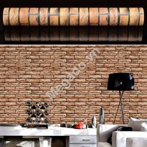 10m Giấy dán tường giả gạch nâu C0039C