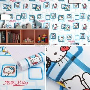 10m Giấy dán tường Hello Kitty xanh C0095