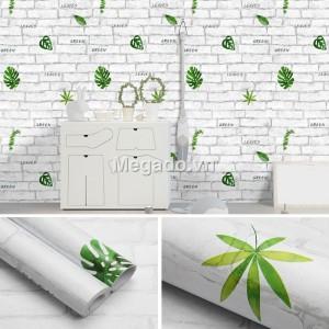 10m giấy dán tường giả gạch trắng và lá xanh C0101