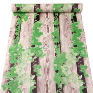 10m giấy dán tường giả gỗ và dây leo xanh C0103
