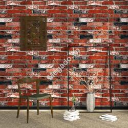 10m giấy dán tường 3D giả gạch đỏ D0005A