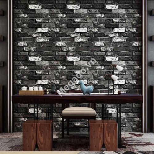 10m giấy dán tường 3D  giả gạch đen xám D0005C