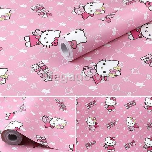 10m khổ 60cm Giấy dán tường hello kitty hồng E0002