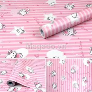 Giấy dán tường hello kitty hồng E0007