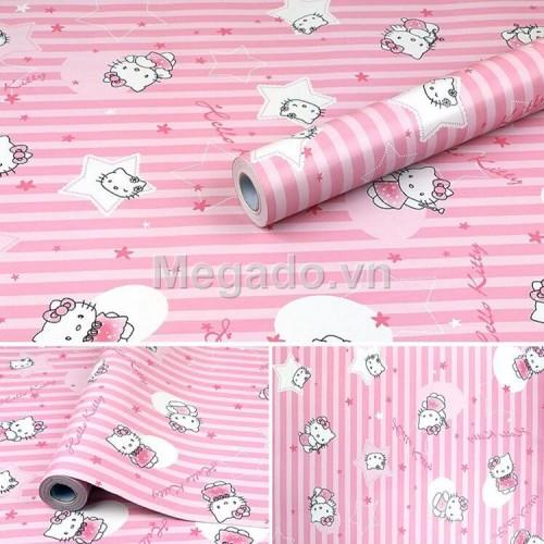 10m khổ 60cm Giấy dán tường hello kitty hồng E0007