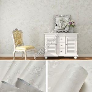 Giấy dán tường hoa hồng trắng bạc E0042